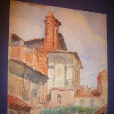 Arte: ACUARELA: IGLESIA Y CLAUSTRO DE SANT SALVI (DE ALBI EN LLEIDA) (FECHADA EN AGOSTO DE1937) (31X24 CM). Lote 228002220