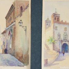Arte: PAREJA DE ACUARELAS TOLEDO POR DIEGO MARIN LÓPEZ (GRANADA 1865-1917). Lote 230402780
