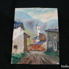 Arte: FELIPE-FELIP BRUGUERAS PALLACH,BONITA ACUARELA ,TITULADA, ANDORRA .. Lote 230576385