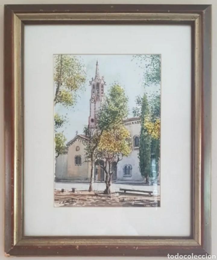 Arte: Carlos Ballestero Alcon (1942) - Santuario de la Salut,Sabadell.Acuarela.Firmada. - Foto 10 - 176410172