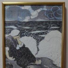 Arte: TITO (EXORISTO SALMERÓN) 1877-1925. MUJER FRENTE AL MAR. ACUARELA Y TINTA SOBRE PAPEL.. Lote 231725795