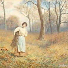 Arte: JOSEPH KIRKPATRICK «THE FAGGOT GATHERER» ACUARELA Y LÁPIZ SOBRE PAPEL. ESCUELA INGLESA FINALES XIX. Lote 231765490