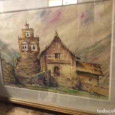 Arte: CASA SANTANDERINA CON IGLESIA CAMPANARIO, BONITA ACUARELA FIRMADA. Lote 232184780