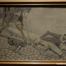 Arte: TITO (EXORISTO SALMERÓN) 1877-1925. PERSECUCIÓN TULLIDOS. ACUARELA SOBRE PAPEL.. Lote 232258340