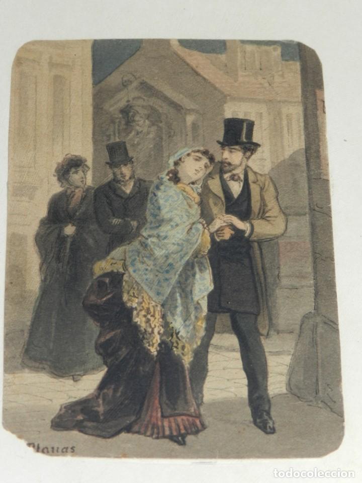 (M) ANTIGUA ACUARELA ORIGINAL DEL PINTOR EUSEBI PLANAS PARA ILUSTRAR ALGUNA NOVELA ROMÁNTICA . FIRMA (Arte - Acuarelas - Modernas siglo XIX)