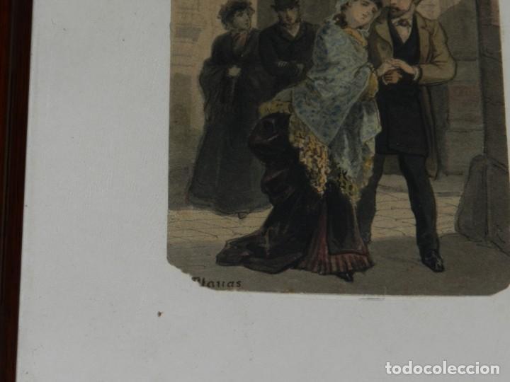 Arte: (M) Antigua Acuarela Original del Pintor Eusebi Planas para ilustrar alguna novela romántica . Firma - Foto 3 - 232583655