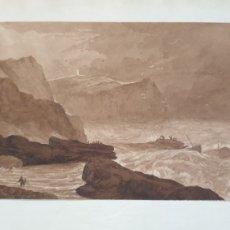 Art: ACUARELA EN SEPIA SOBRE PAPEL. NAUFRAGIO DE PESCADORES EN LA COSTA INGLESA. XVIII. Lote 232941028