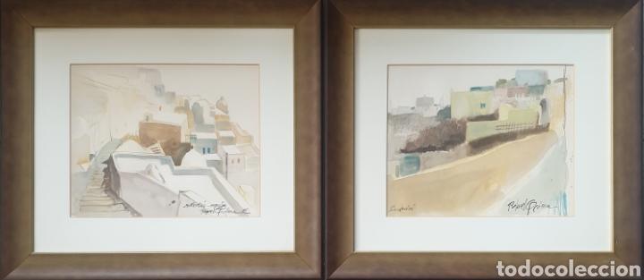 Arte: Rafael Griera Calderón (Las Palmas,1934 - Olot, 2018) - 2 Vistas de Santorini,Grecia.Firmadas.1985. - Foto 3 - 233492820