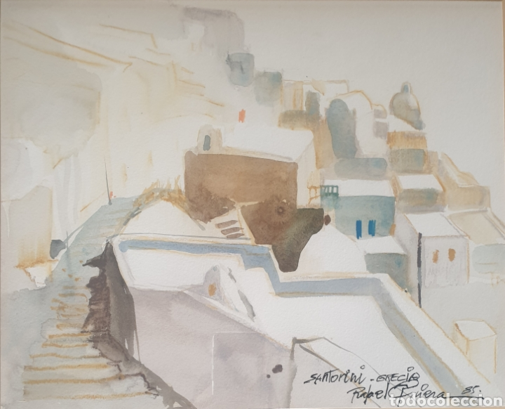 RAFAEL GRIERA CALDERÓN (LAS PALMAS,1934 - OLOT, 2018) - 2 VISTAS DE SANTORINI,GRECIA.FIRMADAS.1985. (Arte - Acuarelas - Contemporáneas siglo XX)