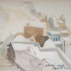 Arte: RAFAEL GRIERA CALDERÓN (LAS PALMAS,1934 - OLOT, 2018) - 2 VISTAS DE SANTORINI,GRECIA.FIRMADAS.1985.. Lote 233492820