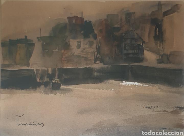 Arte: Josep Cruañas Fages (Maià de Montcal,Girona, 1942) - Puerto de Honfleur,Normandia.Firmada. - Foto 2 - 233511950