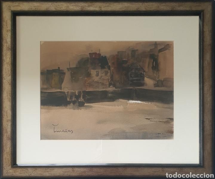 JOSEP CRUAÑAS FAGES (MAIÀ DE MONTCAL,GIRONA, 1942) - PUERTO DE HONFLEUR,NORMANDIA.FIRMADA. (Arte - Acuarelas - Contemporáneas siglo XX)