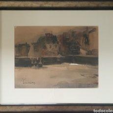 Arte: JOSEP CRUAÑAS FAGES (MAIÀ DE MONTCAL,GIRONA, 1942) - PUERTO DE HONFLEUR,NORMANDIA.FIRMADA.. Lote 233511950