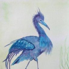 Arte: CUADRO DE ACUARELAS - PINTURA - GARZA AZUL - UN PÁJARO - FIRMADO - 21 X 15 CM.. Lote 234040540