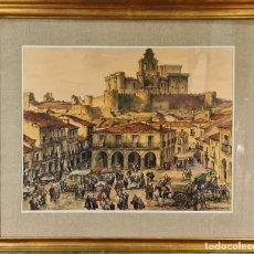 Arte: VISTAS DE MERCADO. LOPEZ RAMÓN. ACUARELA SOBRE PAPEL. CIRCA 1940.. Lote 231434660