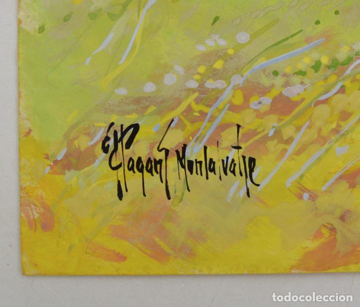 Arte: Jordi Pagans Montsalvatje, paisaje con árbol, acuarela sobre papel, firmada. 46x27cm - Foto 2 - 234445790