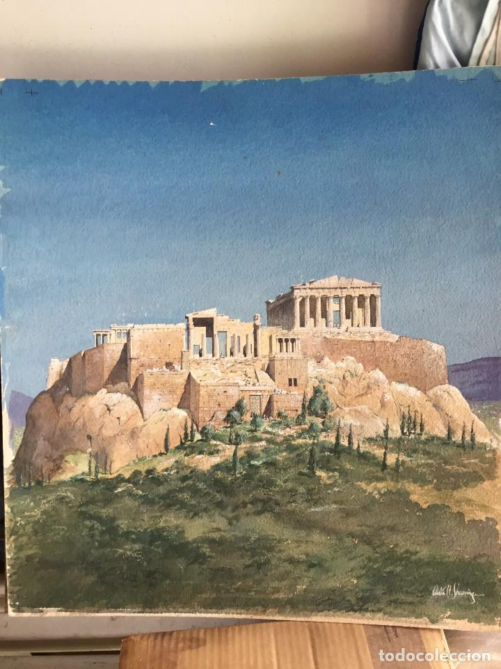 Arte: Atenas. Magnífica acuarela original. Firmada, medidas aprox 50 x 50 cmts. - Foto 3 - 234752015
