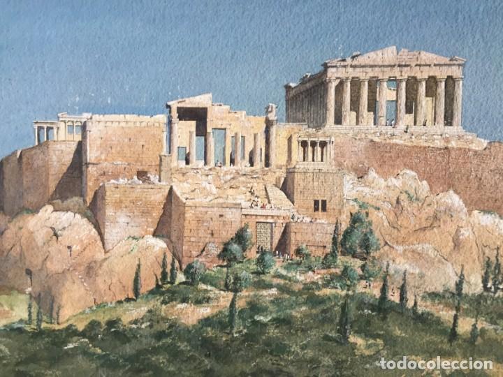 Arte: Atenas. Magnífica acuarela original. Firmada, medidas aprox 50 x 50 cmts. - Foto 4 - 234752015