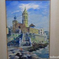 Arte: ACUARELA FIRMADA M. FERRER 85.PAISAJE DE SITGES.GRAN CALIDAD.. Lote 234987585