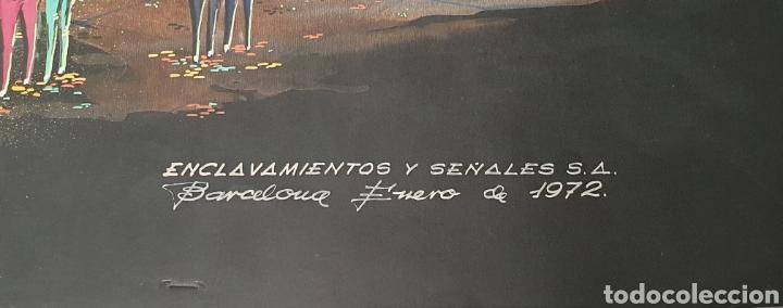 Arte: Acuarela García Santos Proyecto fuente luminosa 1972 .Construcciones Irun. Enclavamientos y señales - Foto 3 - 235178115