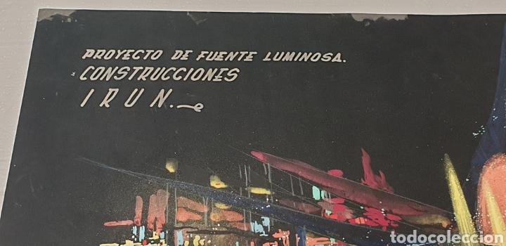 Arte: Acuarela García Santos Proyecto fuente luminosa 1972 .Construcciones Irun. Enclavamientos y señales - Foto 4 - 235178115
