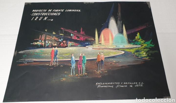 ACUARELA GARCÍA SANTOS PROYECTO FUENTE LUMINOSA 1972 .CONSTRUCCIONES IRUN. ENCLAVAMIENTOS Y SEÑALES (Arte - Acuarelas - Contemporáneas siglo XX)