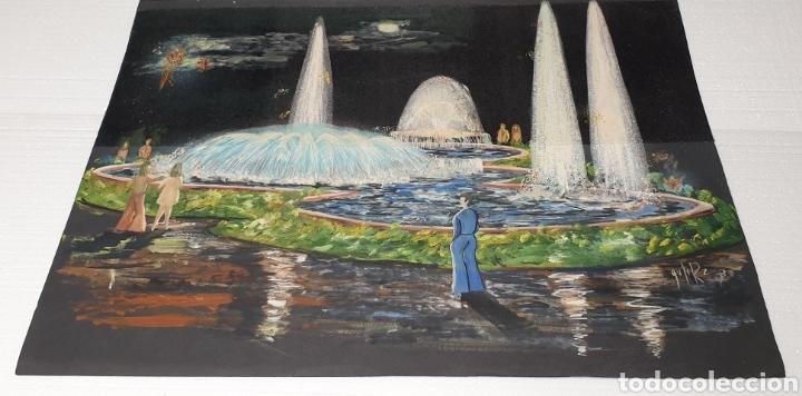 ACUARELA GUTIERREZ PROYECTO FUENTE LUMINOSA 1973 (Arte - Acuarelas - Contemporáneas siglo XX)
