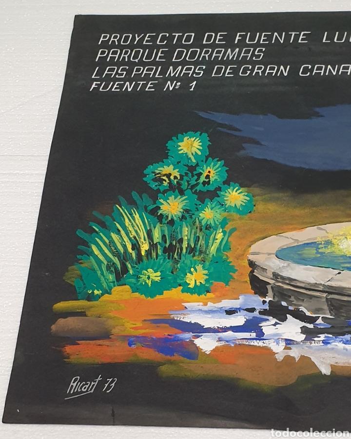 Arte: Acuarela Ricart 1973 Proyecto fuente luminosa Las Palmas de Gran Canaria Acuarela sobre cartulina - Foto 2 - 235183855