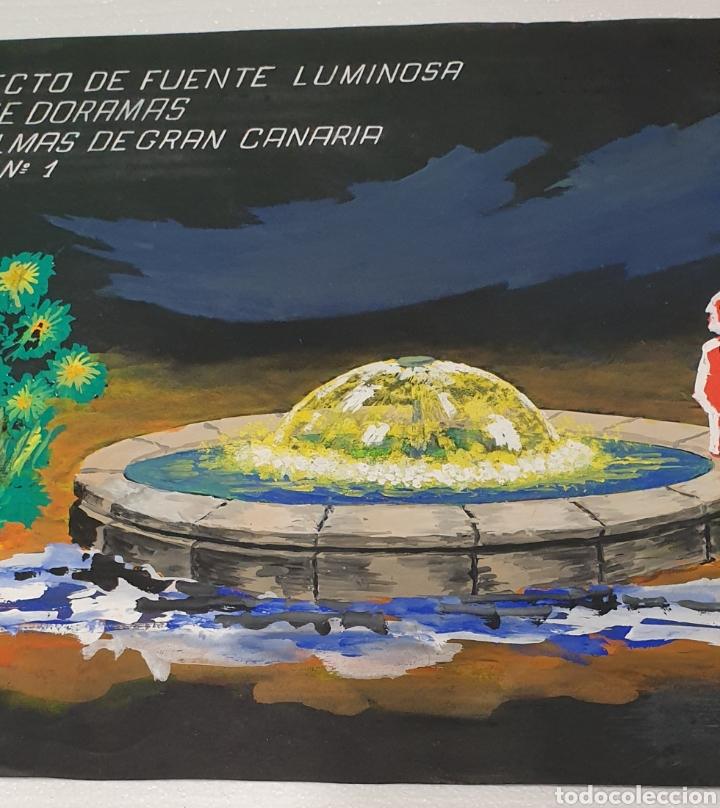 Arte: Acuarela Ricart 1973 Proyecto fuente luminosa Las Palmas de Gran Canaria Acuarela sobre cartulina - Foto 3 - 235183855