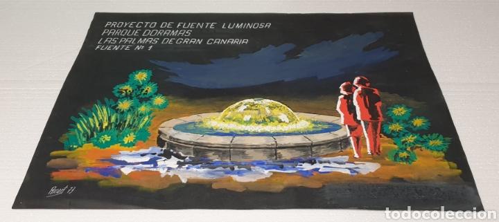 ACUARELA RICART 1973 PROYECTO FUENTE LUMINOSA LAS PALMAS DE GRAN CANARIA ACUARELA SOBRE CARTULINA (Arte - Acuarelas - Contemporáneas siglo XX)