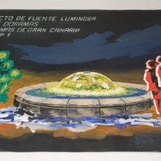 Arte: ACUARELA RICART 1973 PROYECTO FUENTE LUMINOSA LAS PALMAS DE GRAN CANARIA ACUARELA SOBRE CARTULINA. Lote 235183855