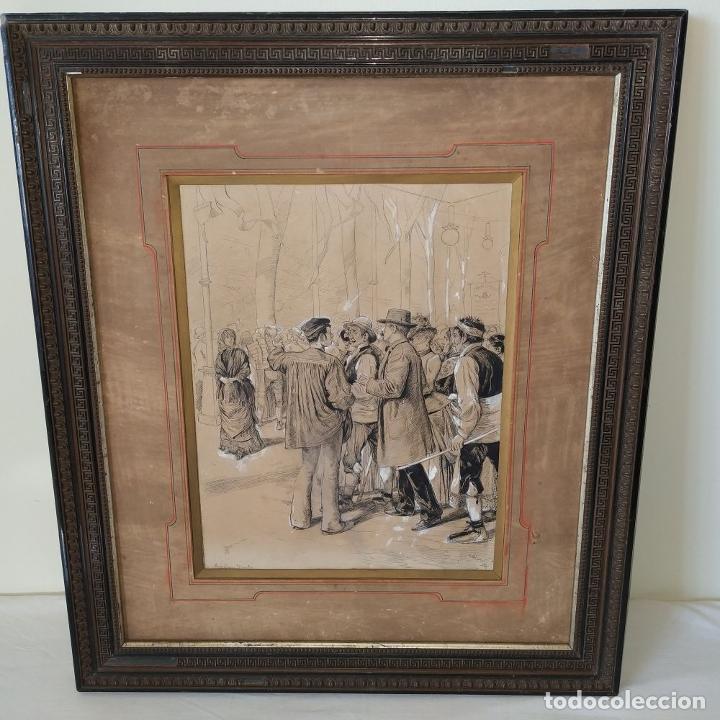 Arte: FIESTAS DE BARCELONA. FIRMA DESCONOCIDA. ACUARELA SOBRE PAPEL. ESPAÑA. 1884 - Foto 2 - 235676785