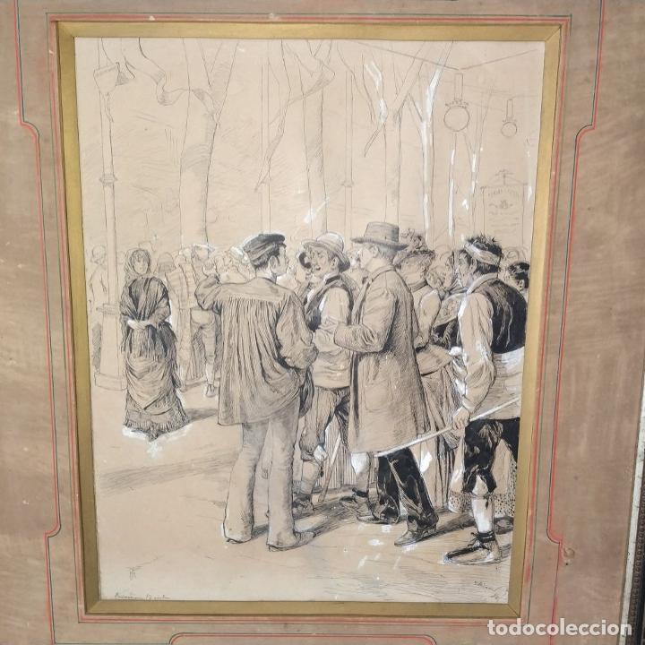 Arte: FIESTAS DE BARCELONA. FIRMA DESCONOCIDA. ACUARELA SOBRE PAPEL. ESPAÑA. 1884 - Foto 3 - 235676785