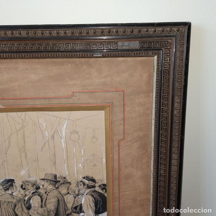 Arte: FIESTAS DE BARCELONA. FIRMA DESCONOCIDA. ACUARELA SOBRE PAPEL. ESPAÑA. 1884 - Foto 5 - 235676785
