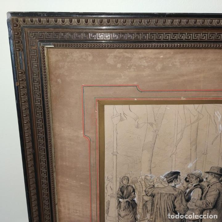 Arte: FIESTAS DE BARCELONA. FIRMA DESCONOCIDA. ACUARELA SOBRE PAPEL. ESPAÑA. 1884 - Foto 6 - 235676785