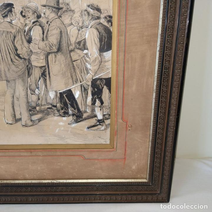 Arte: FIESTAS DE BARCELONA. FIRMA DESCONOCIDA. ACUARELA SOBRE PAPEL. ESPAÑA. 1884 - Foto 8 - 235676785