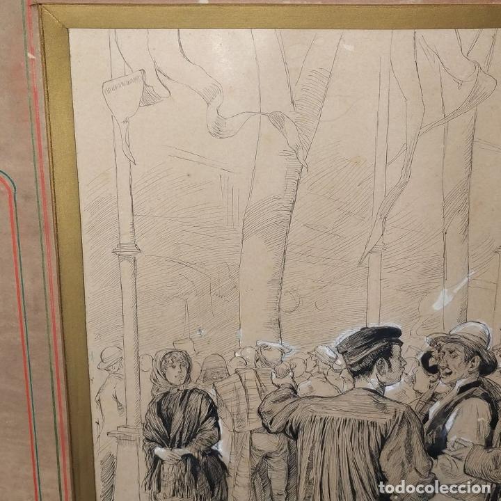 Arte: FIESTAS DE BARCELONA. FIRMA DESCONOCIDA. ACUARELA SOBRE PAPEL. ESPAÑA. 1884 - Foto 10 - 235676785