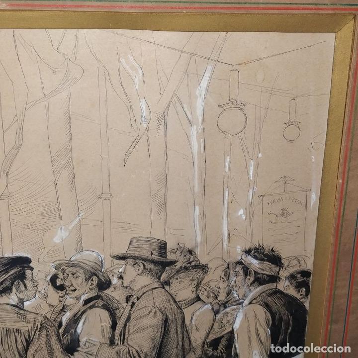 Arte: FIESTAS DE BARCELONA. FIRMA DESCONOCIDA. ACUARELA SOBRE PAPEL. ESPAÑA. 1884 - Foto 11 - 235676785