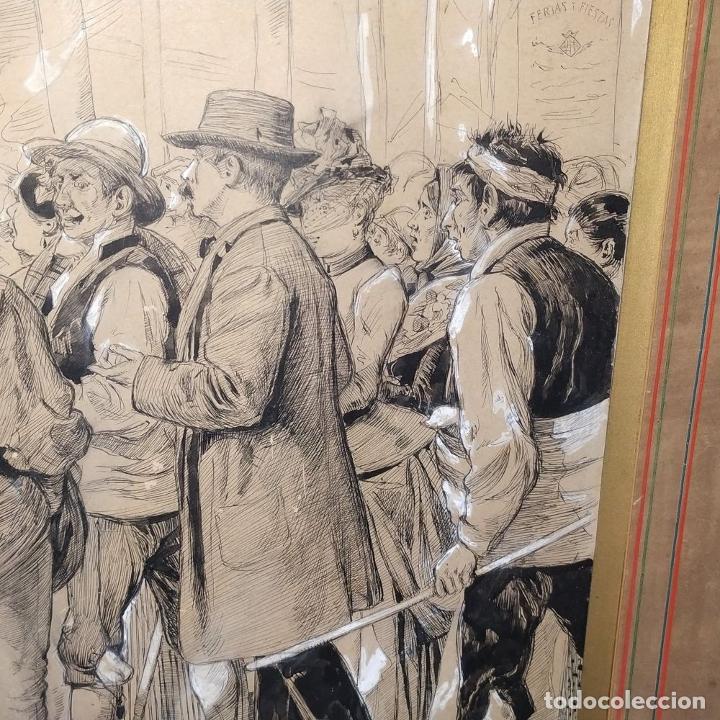 Arte: FIESTAS DE BARCELONA. FIRMA DESCONOCIDA. ACUARELA SOBRE PAPEL. ESPAÑA. 1884 - Foto 14 - 235676785