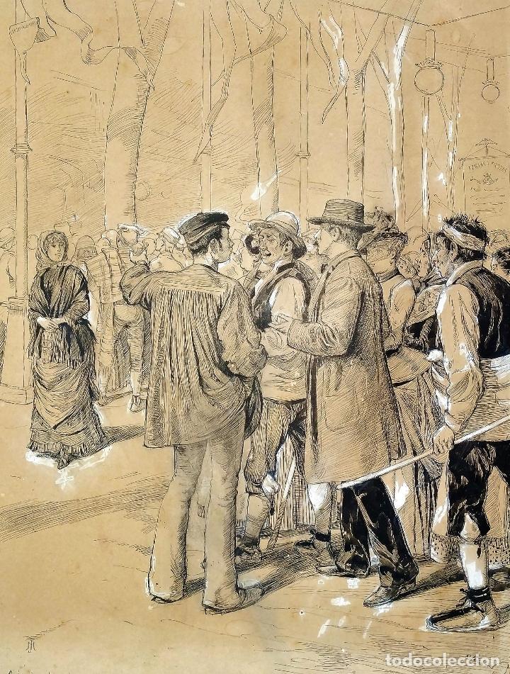 FIESTAS DE BARCELONA. FIRMA DESCONOCIDA. ACUARELA SOBRE PAPEL. ESPAÑA. 1884 (Arte - Acuarelas - Modernas siglo XIX)