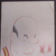 Arte: XAVIER CUGAT: CARICATURA DE DON MANUEL FRAGA 33X25 APROX.ROTULADOR SOBRE CARTULINA. Lote 235926690