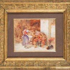 Art: ACUARELA SOBRE PAPEL ESCENA DE TABERNA FIRMADO JOSÉ JIMENEZ ARANDA SEVILLA 1837 - 1928. Lote 236464610