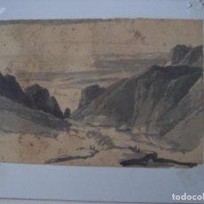 Arte: BONITA ACUARELA PAISAJE MONTAÑA Y MAR. Lote 236856760