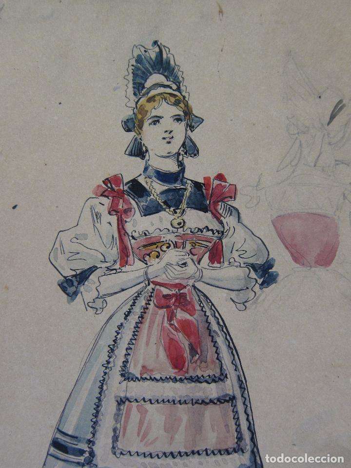 Arte: LUIS LABARTA I GRANÉ.15 FIGURINES DE TEATRO PARA LA OBRA JAVOTTE. TEATRE DEL LICEU, BARCELONA 1898 - Foto 3 - 237283795