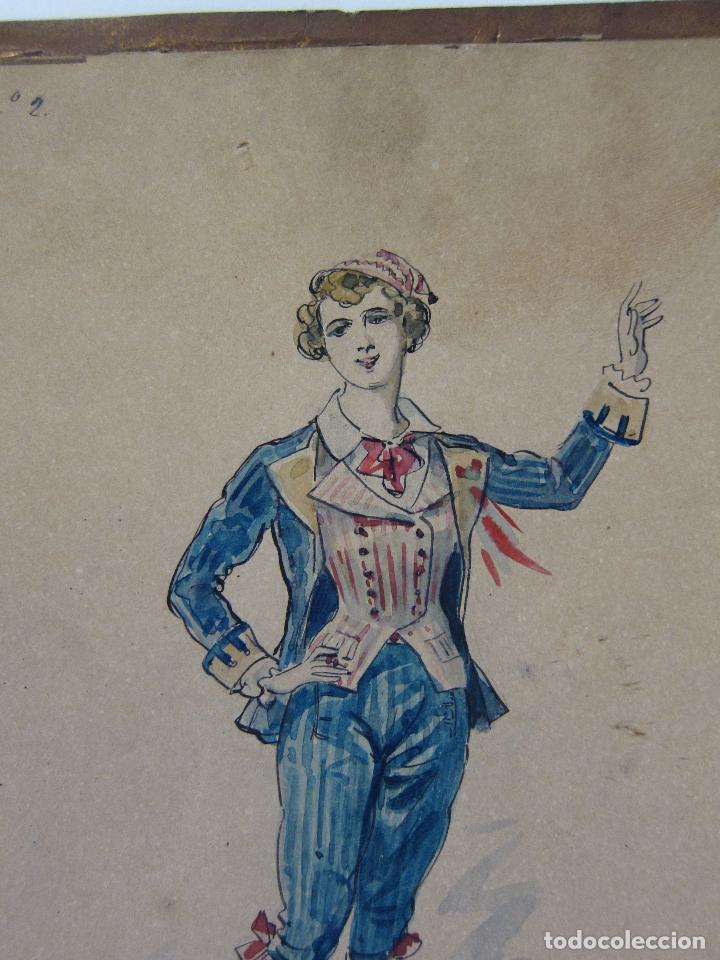 Arte: LUIS LABARTA I GRANÉ.15 FIGURINES DE TEATRO PARA LA OBRA JAVOTTE. TEATRE DEL LICEU, BARCELONA 1898 - Foto 5 - 237283795