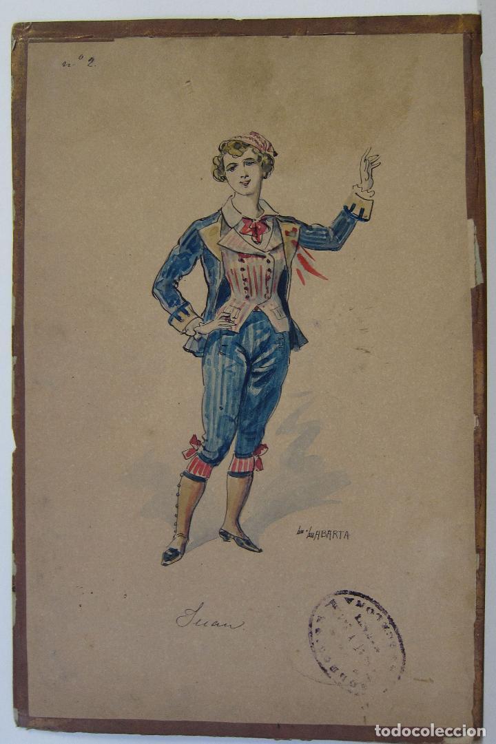 Arte: LUIS LABARTA I GRANÉ.15 FIGURINES DE TEATRO PARA LA OBRA JAVOTTE. TEATRE DEL LICEU, BARCELONA 1898 - Foto 4 - 237283795