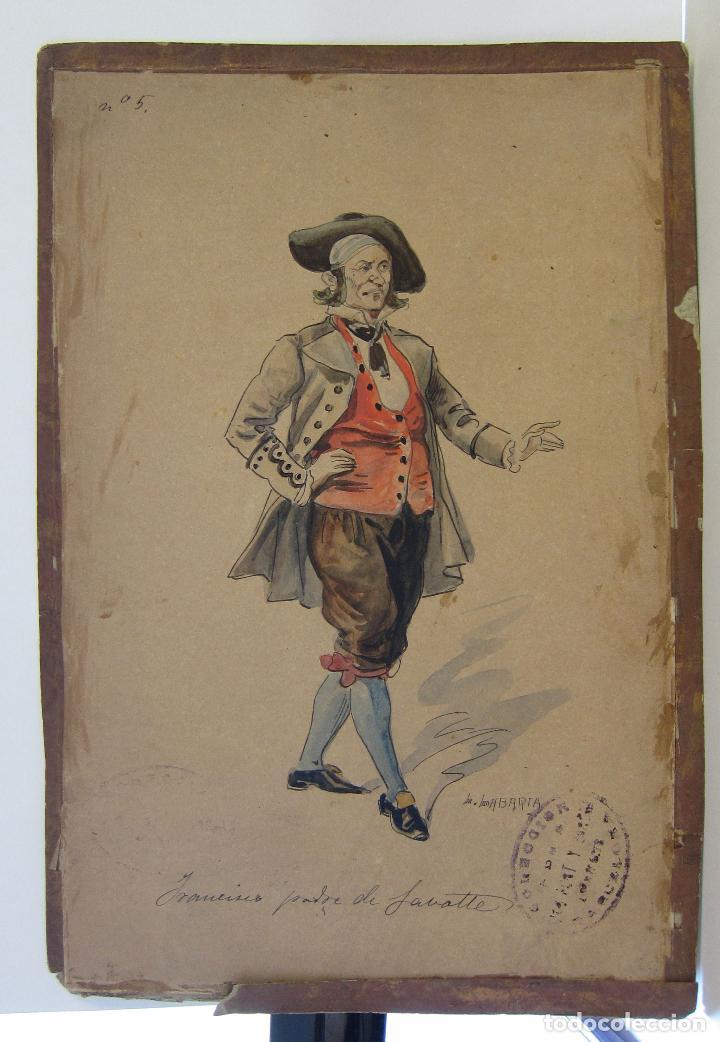 Arte: LUIS LABARTA I GRANÉ.15 FIGURINES DE TEATRO PARA LA OBRA JAVOTTE. TEATRE DEL LICEU, BARCELONA 1898 - Foto 10 - 237283795