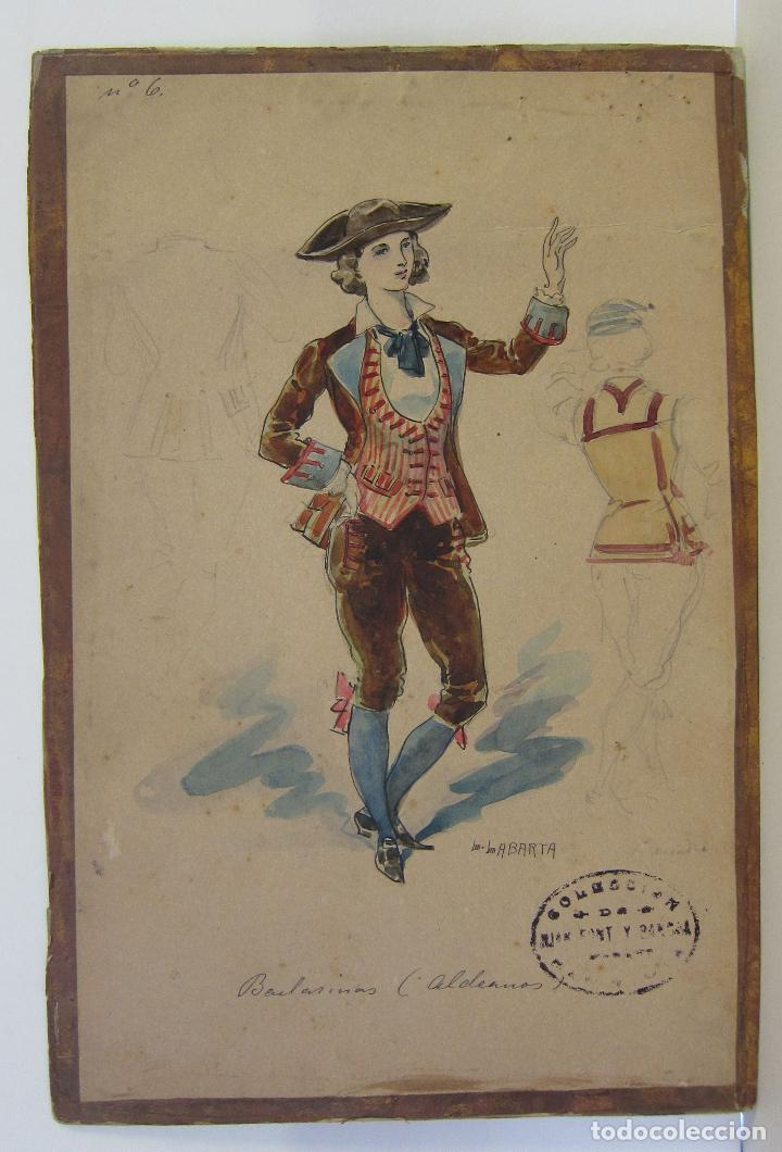 Arte: LUIS LABARTA I GRANÉ.15 FIGURINES DE TEATRO PARA LA OBRA JAVOTTE. TEATRE DEL LICEU, BARCELONA 1898 - Foto 11 - 237283795