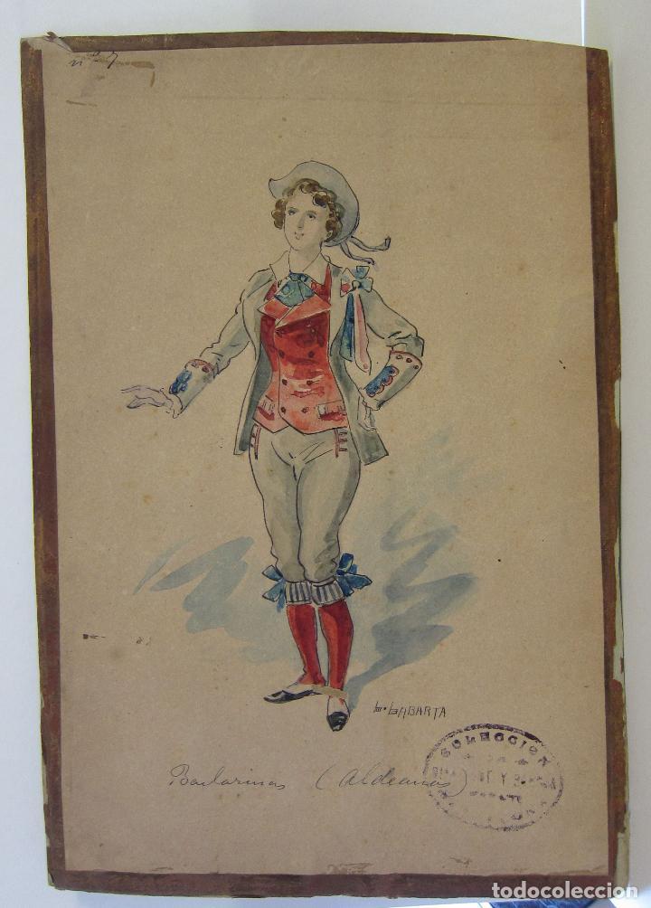 Arte: LUIS LABARTA I GRANÉ.15 FIGURINES DE TEATRO PARA LA OBRA JAVOTTE. TEATRE DEL LICEU, BARCELONA 1898 - Foto 14 - 237283795