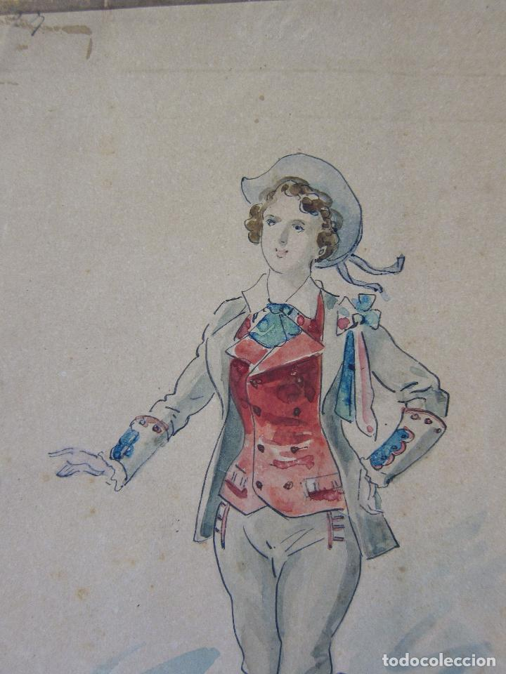 Arte: LUIS LABARTA I GRANÉ.15 FIGURINES DE TEATRO PARA LA OBRA JAVOTTE. TEATRE DEL LICEU, BARCELONA 1898 - Foto 15 - 237283795